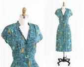 vintage 1940s dress / 40s dress / Musical Instruments and Harps Novelty Print Dress