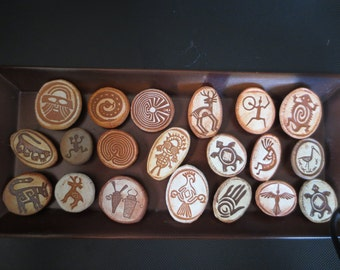 Animals, People, and Ancient Symbols Collection of 20 Petroglyph  Magnets