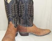 RESERVED for Bryan Scar Vintage Mens Justin Leather Cowboy Western Boots 11D Black Brown
