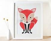 Red Fox Screenprint, Large Art Print, Poster, Woodland, Kids Room