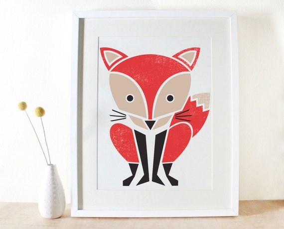 Red Fox Screenprint, Large Art Print, Poster, Woodland, Kids Room