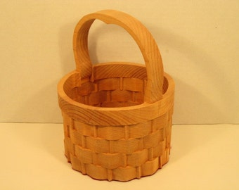 Round Basket Small with Handle Handmade