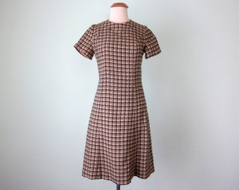 60s dress / ochre & black plaid short sleeve shift mini (s - m)