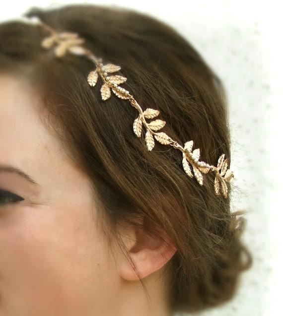 Grecian Wedding Hairstyles: Gold Leaf Hair Piece Grecian Headband Olympus Greek Goddess