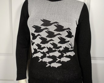 RARE MC Escher 'Sky and Water' Turtleneck Sweater