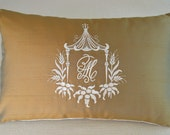 Exclusive Pagoda Monogram Embroidery - HOMAGE to DOROTHY DRAPER - Bronze Silk Othe Color Silk and Ivory Embroidery