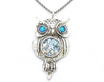 Owl necklace with opal silver sterling pendant (as 508012