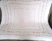 PINK TEA PARTY linen tablecloth, Shamrocks border, vintage 1950s, excellent vintage condition