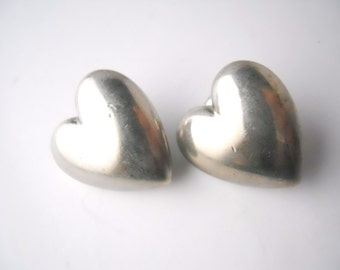 HEARTS VALENTINES CLIP on, earrings, 1 inch tall