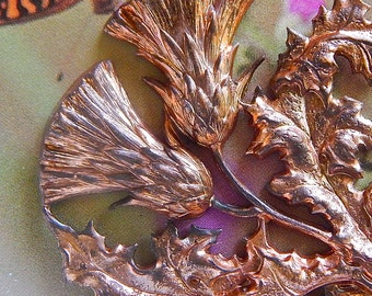 Vintage Large French Stamping of Thistle made of a Coppery Brass
