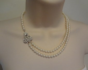 Bridal Pearl necklace, crystal necklace, double strand necklace, bridal necklace,Vanessa PN007