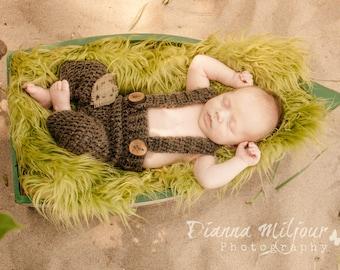 3 to 6 month Brown Baby Suspender Pants, Baby Boy Photo Prop Overalls