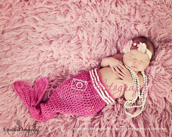 Pink Newborn Mermaid Tail ONLY, 0 to 3 Month Baby Girl Photo Prop Costume