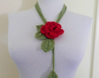 Handmade  Crochet  Red   Rose  Lariat,Scarf,Scarflette,Necklace,Gift,Wedding,Fiber art