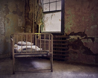 Decay Photography, Dark Haunted, Abandoned, Forgotten Place, Old Bed, Dark Window, Spooky Home Decor, Moody, Halloween Art, Urbex Photograph