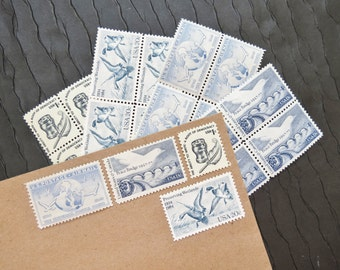 Birds.. in Blue .. Vintage UNused Postage Stamps .. to post 20 letters
