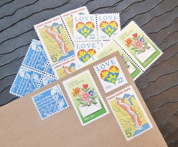 LOVE Letters .. UNused Vintage Postage Stamps  .. post 5 letters