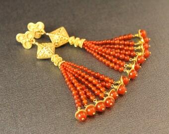 The Tarentella Carnelian and Bali Gold Vermeil Tassel Earrings - Graduated Carnelian Beads with Vermeil and Bali Posts, Caps and Beads