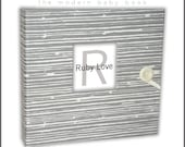 BABY BOOK | Gray Woodsy Stripe Baby Memory Book | Ruby Love Modern Baby Book