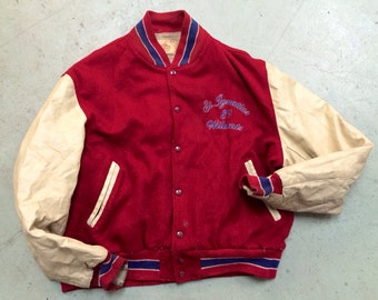 The Vintage St. Ignacius 89 Wildcats Red Wool Leather Letterman Jacket