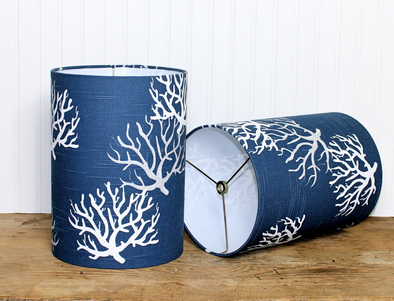 sale navy drum shade lamp shade navy coral lamp shade. Black Bedroom Furniture Sets. Home Design Ideas