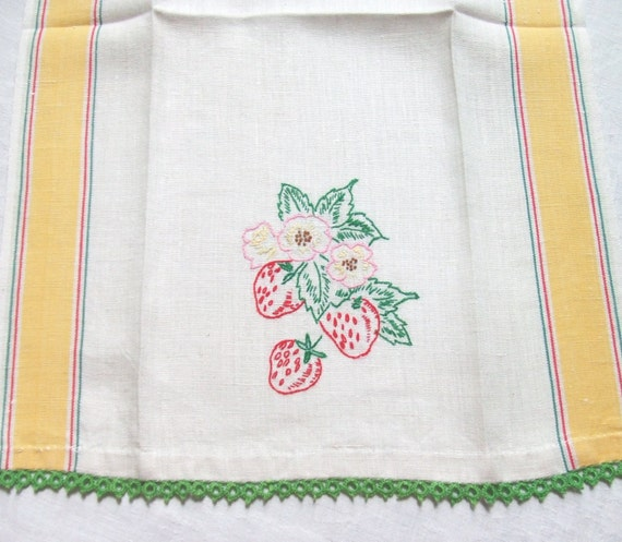 Retro Kitchen Linens: Linen Kitchen Towel With Strawberry Embroidery Vintage