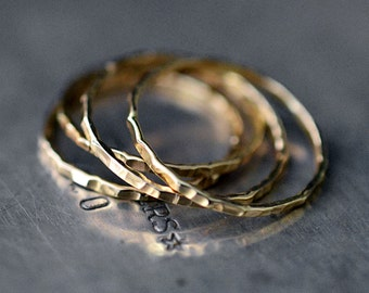 14k goldfill stacked ring set (four rings)