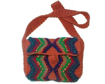 Crochet Shoulder Bag Women's Handbag Crochet Multi Color Shoulder bag Pumpkin Orange OOAK