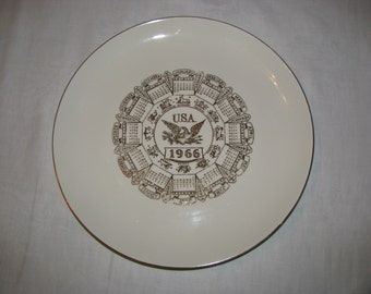 Vintage 1966 U.S.A. American Eagle Calendar Collectible Plate, Great Gift