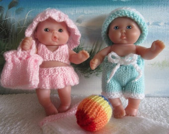 Knit Pattern Berenguer Doll Beach Time Bathing Suit Sets Boy and Girl bikini hats shorts bag ball towel cover up pdf download doll clothes