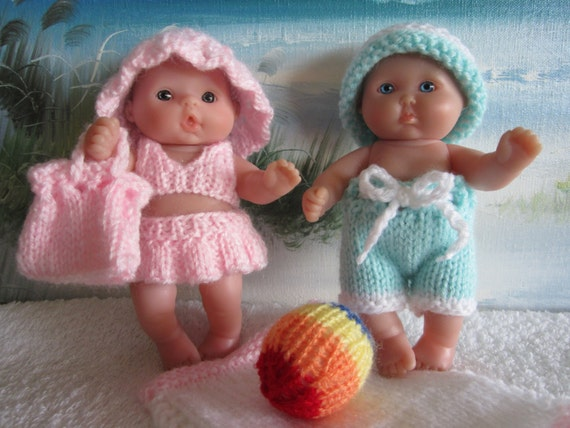 Knitting Patterns For Berenguer Dolls : Knit Pattern Berenguer Doll Beach Time Bathing Suit Sets Boy