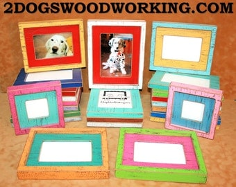 Picture Frame 8x10, Colored Photo Frame, Rustic frame, Bright frame, Distressed Weathered frame, 2 Color Choice frame, Colored Barnwood