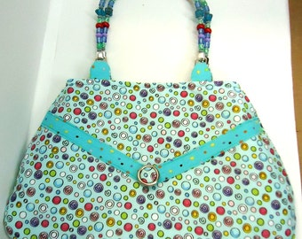 Light turquoise with red, blue, green, yellow curcles and beaded handles Purse. Bag. Handmade. One of a Kind