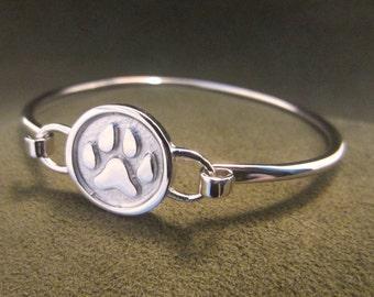 Engravable Silver Paw Bangle Bracelet