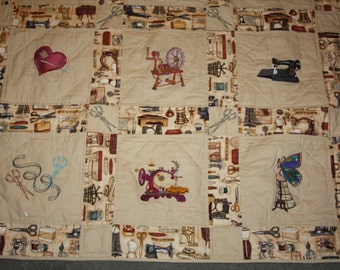 Steampunk Seamstress Machine embroidered Lap Quilt