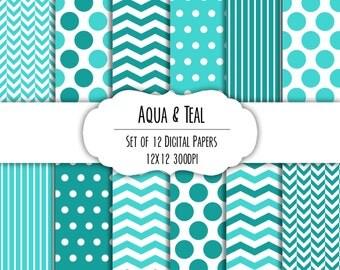 Aqua & Teal Blue Digital Scrapbook Paper 12x12 Pack - Set of 12 - Polka Dot, Chevron - Instant Download - Item# 8122