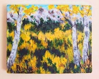 Autumn Aspens Evergreens Mountains Fall Painting SFA 4x5 Orange Gold Brown Blue Sky