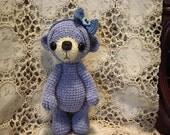 Artist Thread Crochet Teddy Bear Amigurumi OOAK Bear Crocheted Chenille Toy Doll