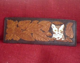 """Handmade Leather Wallet """"CAT'S MEOW""""  in Black and Brown"""
