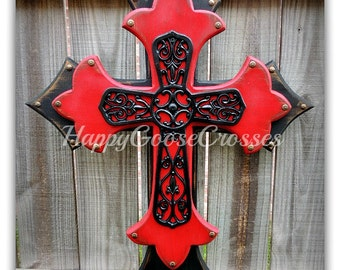 Wall CROSS - Wood Cross - Large - Antiqued Black and Red with large Black Iron Cross