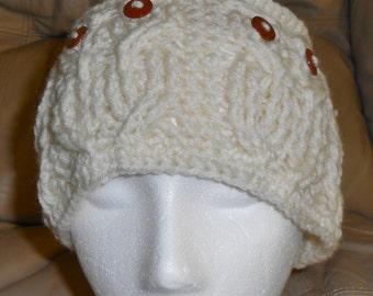 Hoot Owl Knitted Headband Ear Warmer Off White