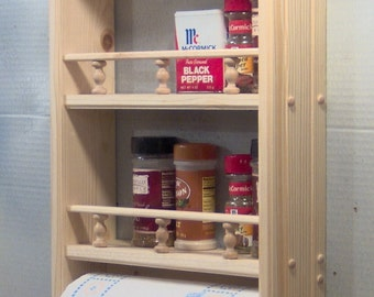 Unfinished Spice curio paper towel solid wood with rails