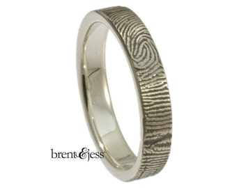 4mm Sterling Silver Custom Fingerprint Wedding ring or Commitment Ring with Your Actual Fingerprint Wrapped on the Outside