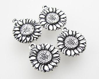 TierraCast Antiqued Silver Ox Sunflower Charm Flower Drop 18mm chm0288 (4)
