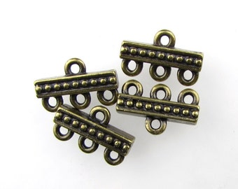 Antiqued Brass Ox Beaded 3 to 1 Connector Bar Link TierraCast Multi Strand Bronze Finding 15mm cnn0117 (4)