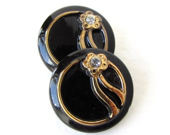 Vintage Rhinestone Flower Buttons Black Glass Gold Paint 18mm but0281 (2)