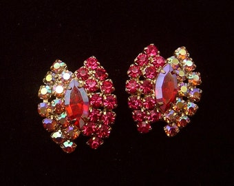 Gorgeous Vintage red Aurora borealis Earrings