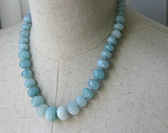 Powder Blue Faceted Gem Stone Graduated Beaded Necklace