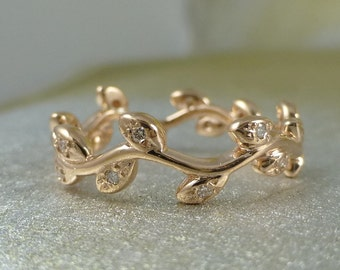Leaf wedding band. Natural organic ring. 14k pink gold vine ring with Diamonds. Vine engagement ring.
