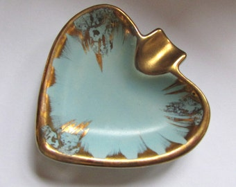 Vintage heart-shaped ashtray / catch all / container / holder - turquoise / aqua & gold - made in Germany